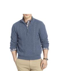 Izod Aran Cable Knit Quarter Zip Sweater