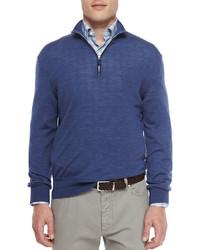 Ermenegildo Zegna Wool Blend Quarter Zip Pullover Blue