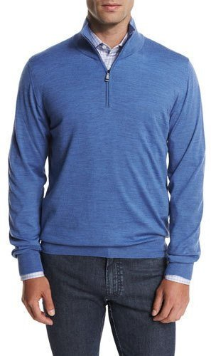 Brioni Wool Half Zip Sweater Light Blue | Where to buy & how to wear