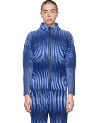 Homme Plissé Issey Miyake Blue Striped Hologram Sweater