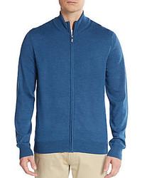 Saks Fifth Avenue Zip Front Merino Wool Cardigan
