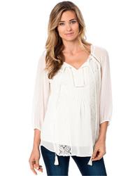 Blusa campesina de crochet blanca