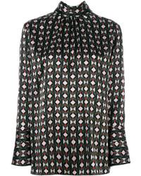 Blusa con estampado geométrico negra de Fendi