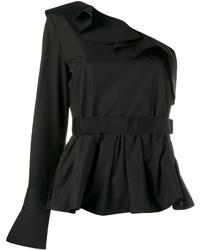Blusa con volante negra de Fendi