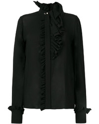 Blusa con volante negra de Lanvin