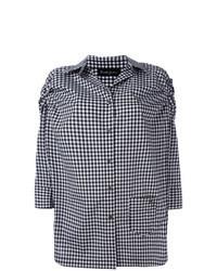 Blusa de botones a cuadros negra