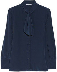 Blusa de botones azul marino