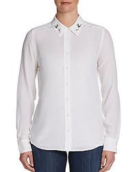 Blusa de botones bordada blanca