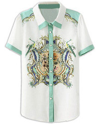 Blusa de botones con print de flores blanca