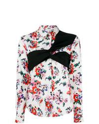 Blusa de botones con print de flores blanca de MSGM
