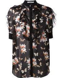 Blusa de botones con print de flores negra de Givenchy