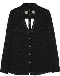 Blusa de botones con recorte negra de Versace