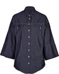 Blusa de botones de cambray azul marino