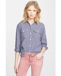 Blusa de botones de cuadro vichy en azul marino y blanco de Current/Elliott