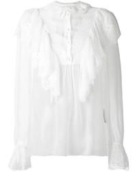 Blusa de Botones de Encaje Blanca de Dolce & Gabbana
