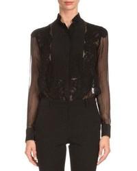 Blusa de botones de encaje negra de Givenchy