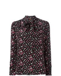 Blusa de botones de estrellas negra de Saint Laurent