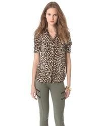 Blusa de botones de gasa de leopardo marrón