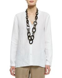 Blusa de botones de lino blanca de Eileen Fisher