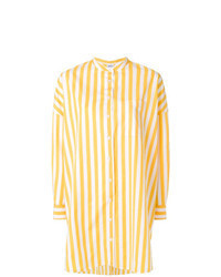 Blusa de botones de rayas verticales amarilla