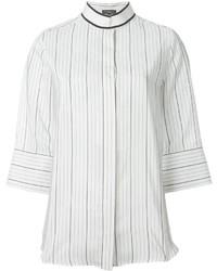 Blusa de botones de rayas verticales blanca de Salvatore Ferragamo