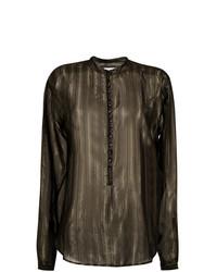 Blusa de botones de rayas verticales negra de Saint Laurent