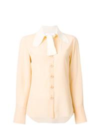 Blusa de botones de seda amarilla de Chloé