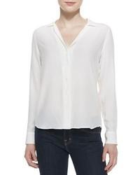 Blusa de Botones de Seda Blanca de Equipment