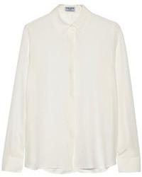 Blusa de botones de seda blanca de Frame Denim