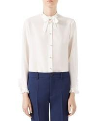 Blusa de botones de seda blanca de Gucci