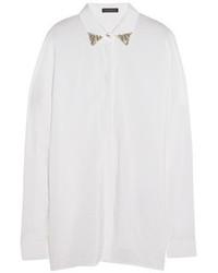 Blusa de botones de seda con adornos blanca de Versace