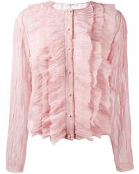 Blusa de botones de seda con volante rosada de Givenchy