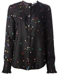Blusa de botones de seda estampada negra de Givenchy