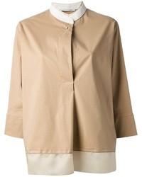 Blusa de botones de seda marrón claro