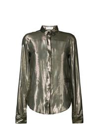 Blusa de botones dorada de Saint Laurent