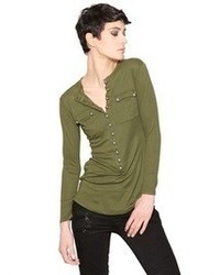 Blusa de botones verde oscuro de Balmain