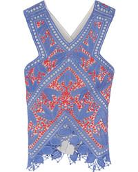 Blusa de crochet azul de Tory Burch