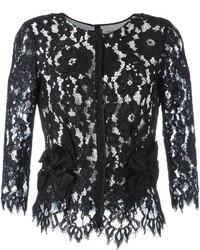 Blusa de encaje con print de flores negra de Marc Jacobs