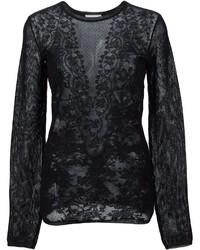 Blusa de Encaje de Punto Negra de Lanvin
