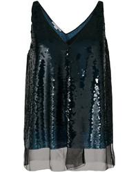 Blusa de lentejuelas azul marino de Stella McCartney