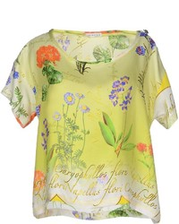 Blusa de manga corta con print de flores amarilla