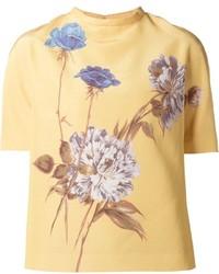 Blusa de manga corta con print de flores amarilla de Rochas