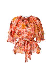 Blusa de manga corta con print de flores naranja de MSGM