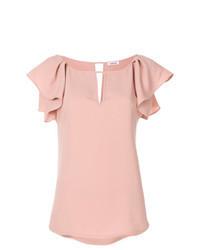 Blusa de manga corta con volante rosada