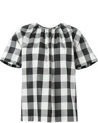 Blusa de manga corta de cuadro vichy en negro y blanco de Rochas