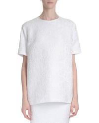 Blusa de manga corta de encaje blanca de Givenchy