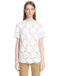 Blusa de manga corta de encaje blanca de Lanvin