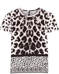 Blusa de manga corta de leopardo en blanco y negro