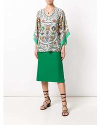 Blusa de manga corta de paisley en multicolor de Etro