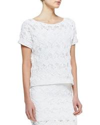 Blusa de manga corta de punto blanca